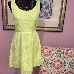 Size 8 Lime Yellow/ Green Cotton AE Dress